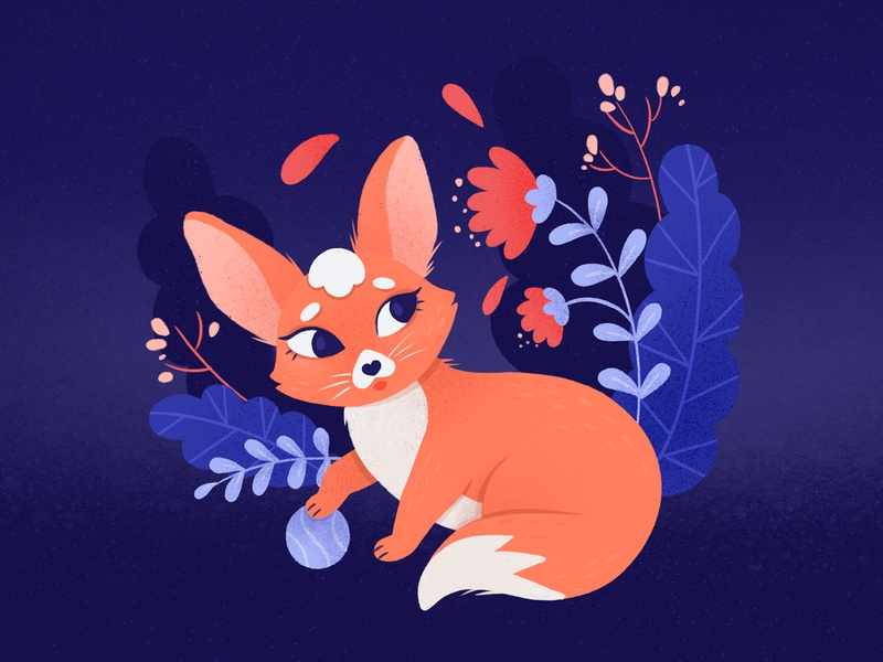 fennec fox foxy fox botanic illustration procreate caracter