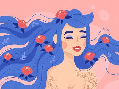 floral girl girl hair funny illustration flower caracter