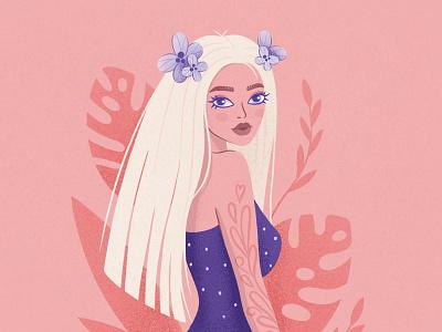 Nika portrait caracter flower girl design botanic procreate illustration