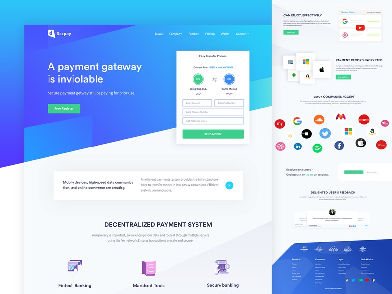 Payment Gateway - Landing Page Design illustration bitcoin cryptocurrency 2019 design trend agency design e-commerce shofify wallet finance webdesign product payment mockup mobile colorful design minimal  design landing page cards app account