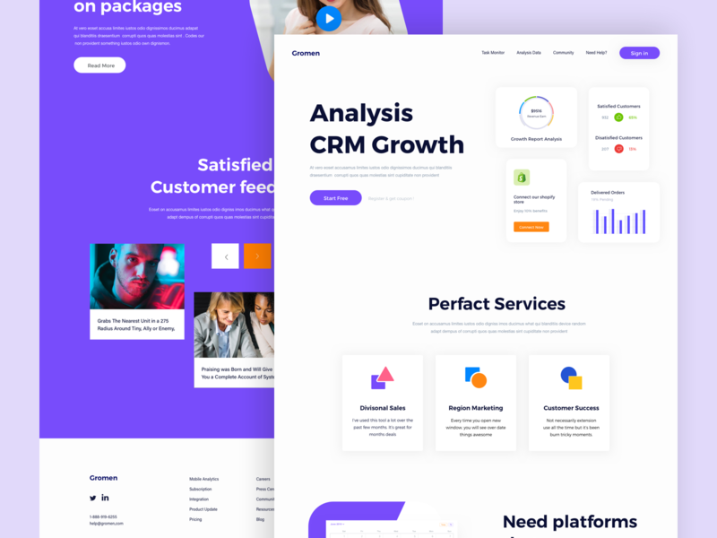 Gromen Landing Page header design homepage webdesign website landingpage platform company graphicdesign dashboad interfacedesign user research cart appdesign agency shopify product design payment cool colors ecommerce saas website