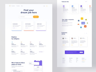 Job Landing: Find & post job platform product design slider homepage website job portal job post recruitment agency agency hire job search web webdesign website design landingpage job listing job landing job board job application job branding