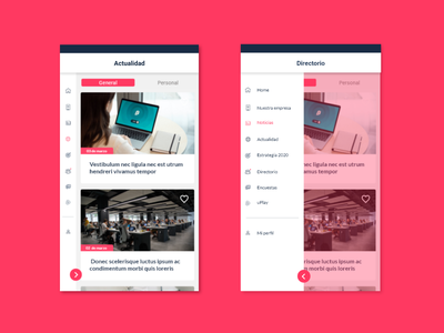 Redesign of Corporative App for internal communication corporative app design design ux ui ui design