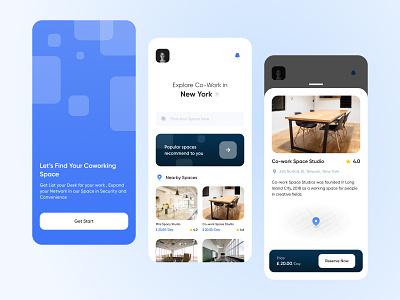 Co working Space App Concept figma iphone art application app concept work co-work space creativity creative app concept ui dribble design