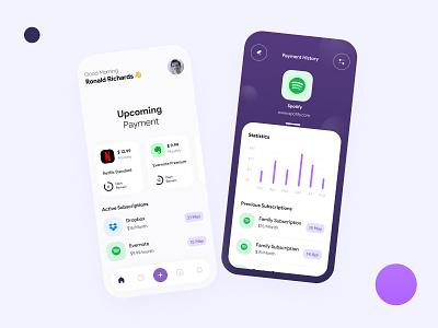 Subscriptions Management App management tool management app concept creative creativity dribble minimal ui clean smart subscription iphone concept application design app