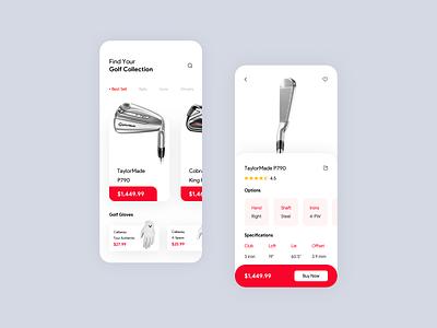 Golf Shopping App creative sketch e-commerce shop shopping app iphone art application app concept creativity app ui concept dribble design golf