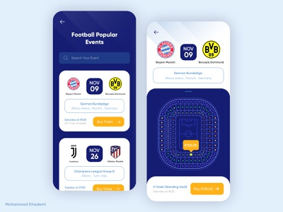 Football Ticket App Concept sport art application app concept creativity creative app concept ui dribble design ticket football