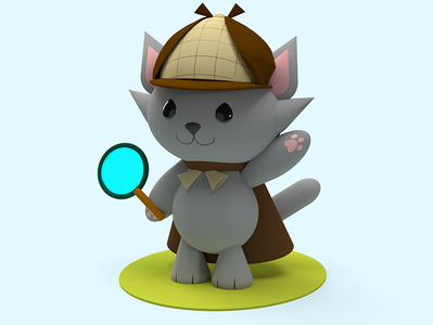 Day 4 - Detective the Cat cat 3d illustration adobe dimension character design 3dcharacter design