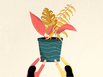 Implementation Illustration pink people illustration leaves pot plant people beige branding simple caitlin aboud illustration design