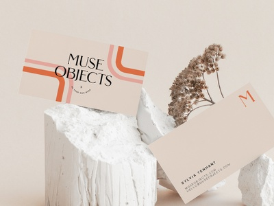 Muse Objects Branding clean pink beige modern abstract branding simple caitlin aboud illustration design