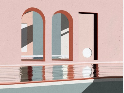 Pink Arch Illustration clean modern abstract design caitlin aboud illustration art italy red pink colour illustrator illustration