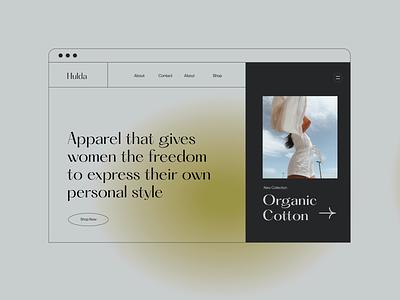 Hulda Apparel- Website Direction ui design feminine modern lifestyle apparel clothing neon green gradient webdesign ui branding simple caitlin aboud illustration design