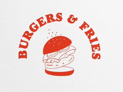 Burgers & Fries, Squamish, BC logo modern abstract branding caitlin aboud simple illustration design