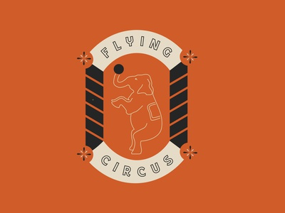 Flying Circus, Top 100 Squamish Climbs outline sticker vintage logo orange circus vintage patch modern abstract branding caitlin aboud simple illustration design