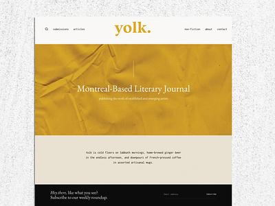 Yolk Literary Magazine magazine yellow orange beige typography modern abstract caitlin aboud design minimal website webdesign uiux
