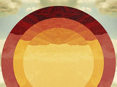 Rise graphic design circles warm colors sun grain sunset sunrise rise nature sky mountains retro geometric shapes