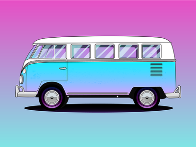 Volkswagen 1965 Deluxe youssef jaafar vector colorful bus minibus van illustrator illustration car volkswagen