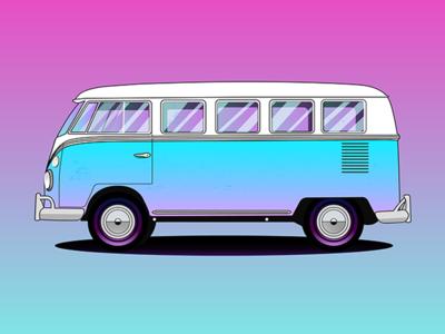 Volkswagen 1965 Deluxe youssef jaafar vector colorful bus minibus van illustrator illustration car volkswagen