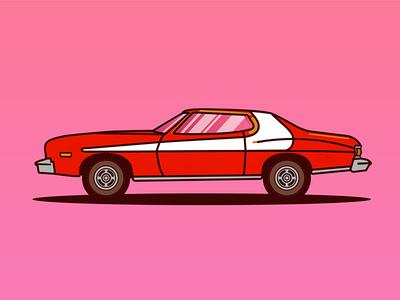 Ford Gran Torino youssef jaafar illustrator illustration colorful car vector torino gran ford hutch starsky