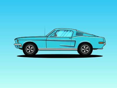 1968 Ford Mustang youssef jaafar illustrator illustration colorful vector car mustang ford