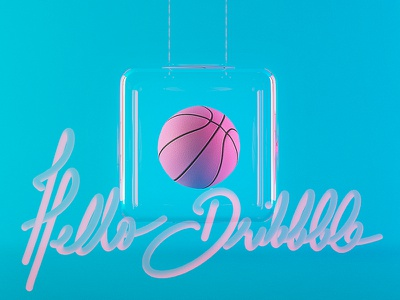 Hello Dribbble! hello 3dsmax 3d bell glass levitation font typography blue pink ball basket