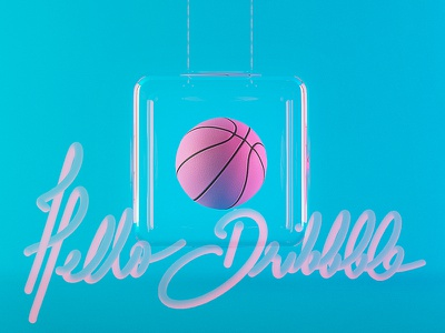 Hello Dribbble! hello 3dsmax 3d bell glass levitation font typography blue pink ball basket
