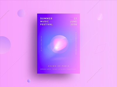 2018 Summer Music Festival flyer été couleurs colorful paris musique fête festival music summer