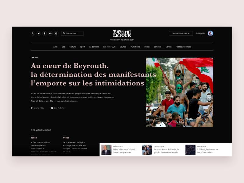 Lebanon News ux  ui ui desgin ux design news black  white sketch journalism journal lorient le jour newspaper revolution beirut lebanon