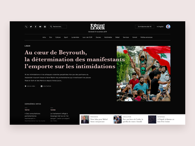 Lebanon News ux  ui ui desgin ux design news black  white sketch journalism journal lorient le jour newspaper revolution beirut lebanon