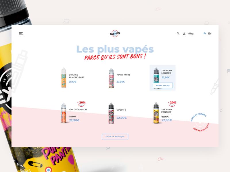 French E-liquid Shop ekoms ecommerce code ux desgin ui design design electronic cigarette vape eliquid