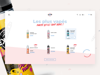 French E-liquid Shop ekoms ecommerce code ux desgin ui design design electronic cigarette vape eliquid