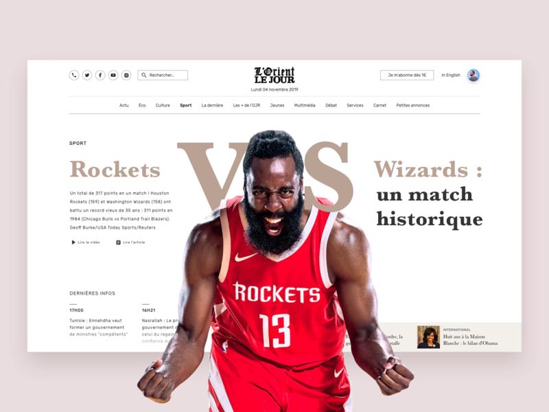 Basketball News ui design ux design wizards rockets sport sketch journal newspaper lorient basketball