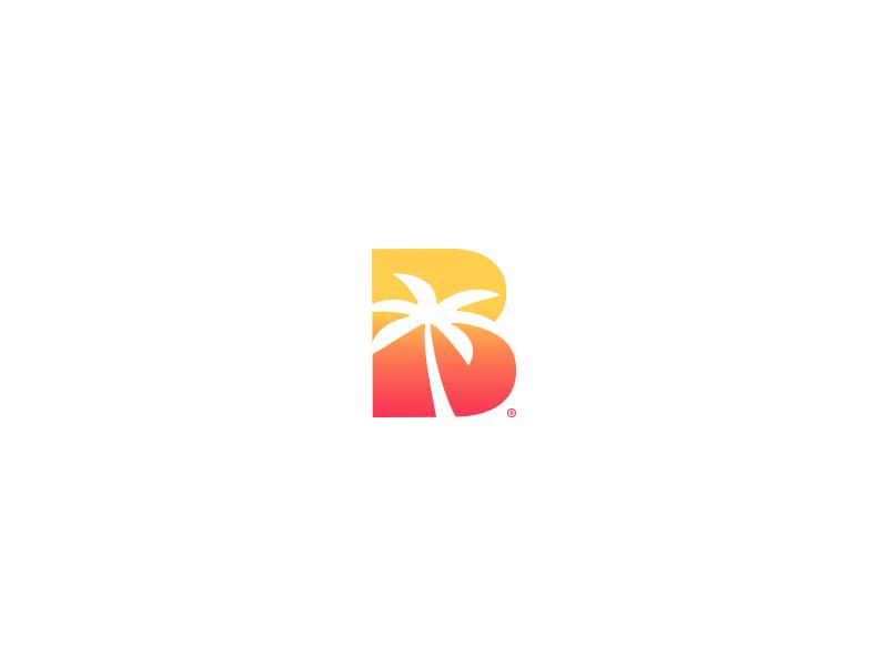 Beach + Sunset tree illustration palm before branding logo sunset beach
