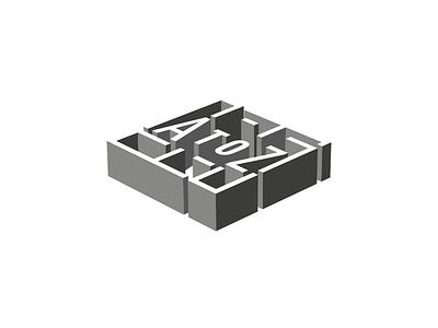 AtoZ, Logo perspective effect 3d creative brand build logo construction architecture