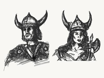 Vikings. Hand Illustrations rest businesscards vector design illustration branding alexandra miracle illusviking style norway viking