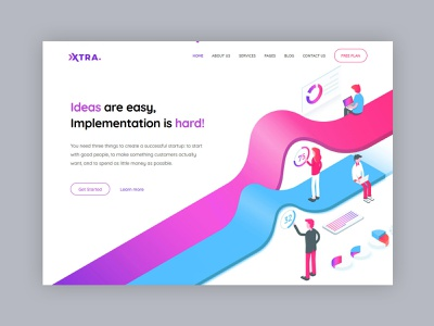 Startup WordPress Theme app saas app seo saas startup purple blue pink isometric illustraion minimal modern creative web design theme ux ui