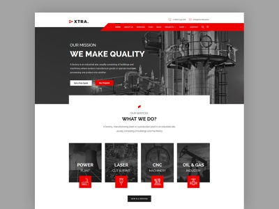 Factory & industry WordPress theme minimal landing design landing page landing wordpress themes slider wordpress theme clean modern red interface wordpress themes web theme ux ui industrial industry factory