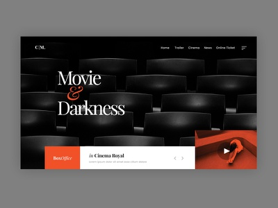 Movie & Cinema cinema film movie dark minimal modern clean creative web design ux ui