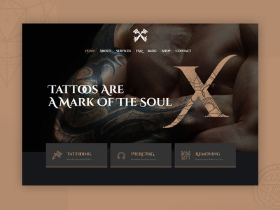 Tattoo Shop WordPress Theme template website dark tattoo design tattoo artist tattoo ux ui wordpress theme