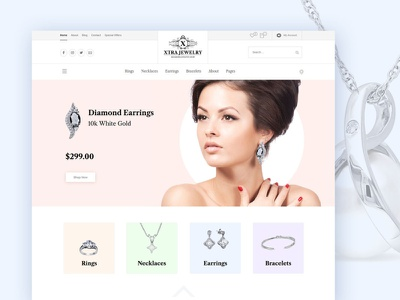 Jewelry Shop WordPress Theme jewellery store shop jewelry modern creative clean design web theme ux ui