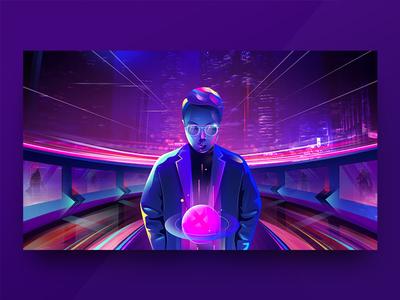 Hello Dribbble dribbble science fictiond planet city purple blue light people illustration science bright