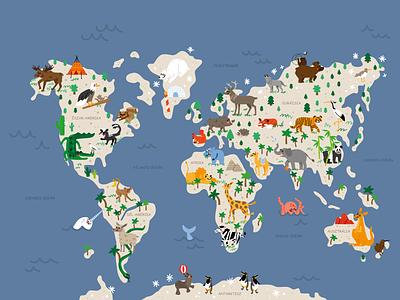 World map wallpaper design wallpaper wall art animal figurative vector illustration