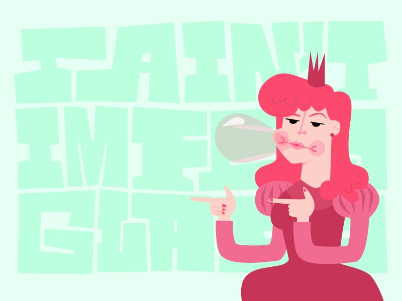 Bubblegum pink figurative fun illustration princess chewing bubblegum