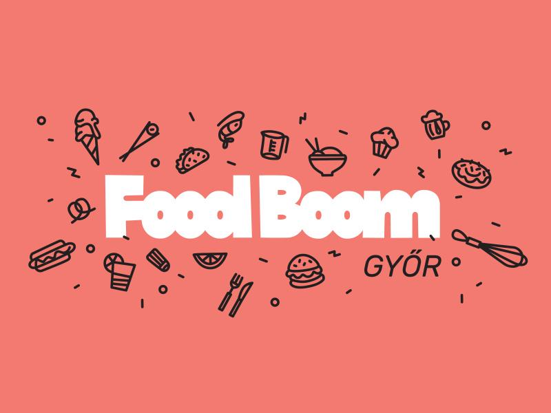 Food Boom icon logo lettering food festival gourmet