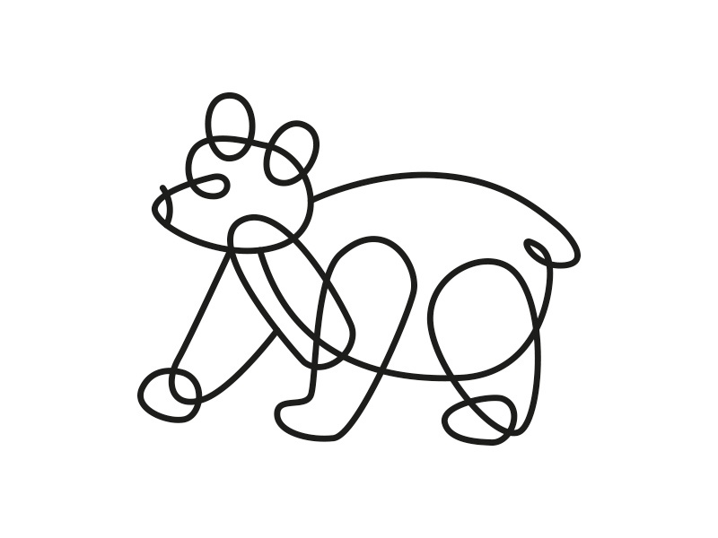 Bear lineart icon preschool bear deconstructed