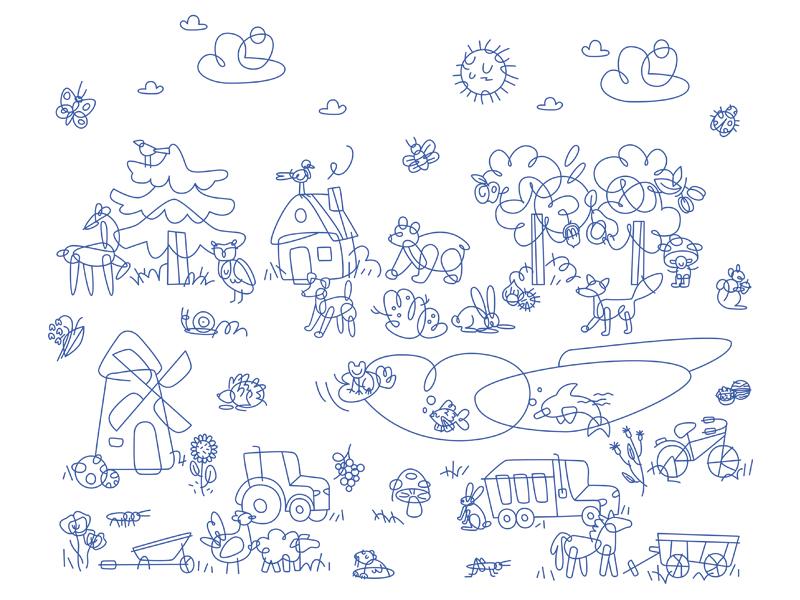Kindergarten wall deco child children icons destructed geometric line art animals
