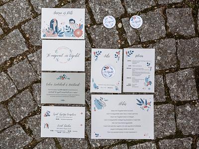 Ancsa & Peti flower stationery wedding vector figurative design illustration