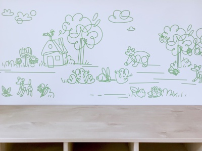 Wall decoration for a kindergarten childrens illustration children icon vector figurative illustration