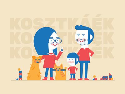 Bandi's birthday family portrait parents children toys pets family figurative vector illustration