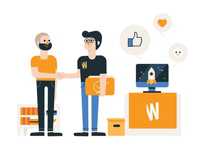 Web Studio 02 client webdesigneragency office life figures webdesign vector figurative illustration